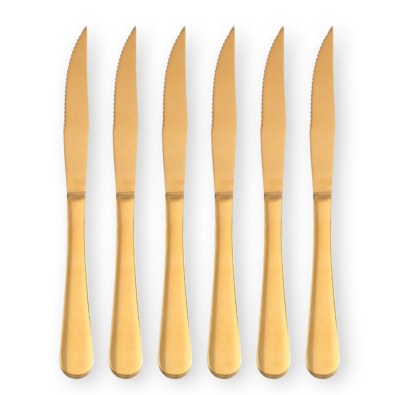Gold Steak Knife Set, Stainless Steel and Durable comfortable grip handle, for Pizza or Steak (Pack of 6)