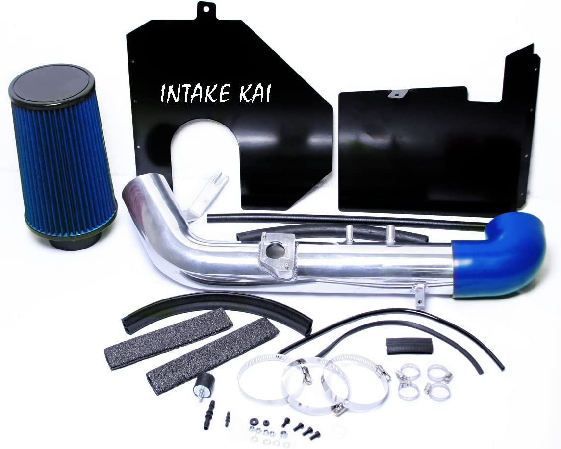 FOR 2003-2004 RAM 1500 DR 4.7L V8 COLD AIR INTAKE KIT W//HEAT SHIELD+BLUE FILTER