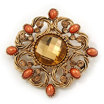 Avalaya Vintage Topaz Coloured Crystal Orange Bead Brooch/Pendant In Gold Metal - 4.5cm UD30Qcwgo8