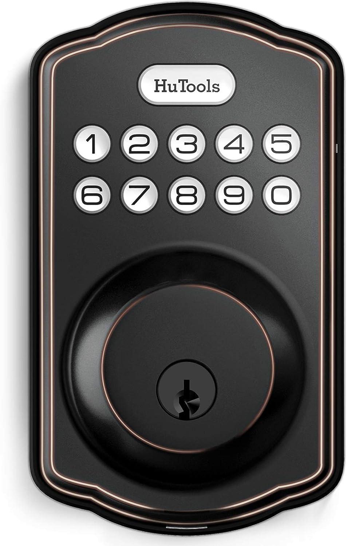 Keyless Entry Deadbolt Lock, Hutools Digital Door Locks with Keypads, Auto Lock, 1 Touch Locking, 20 User Codes, Oil Rubbed Bronze