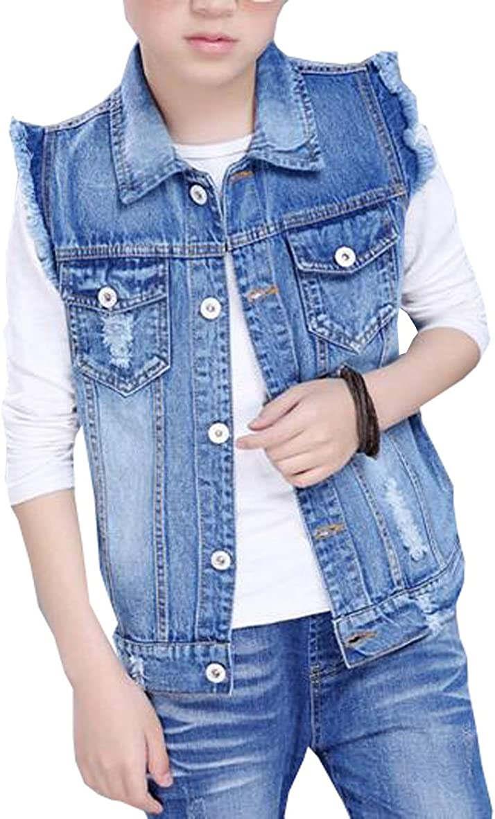 Oushiny Unisex Kids Sleeveless Denim Vest Cute Kids Gilet for 2-12