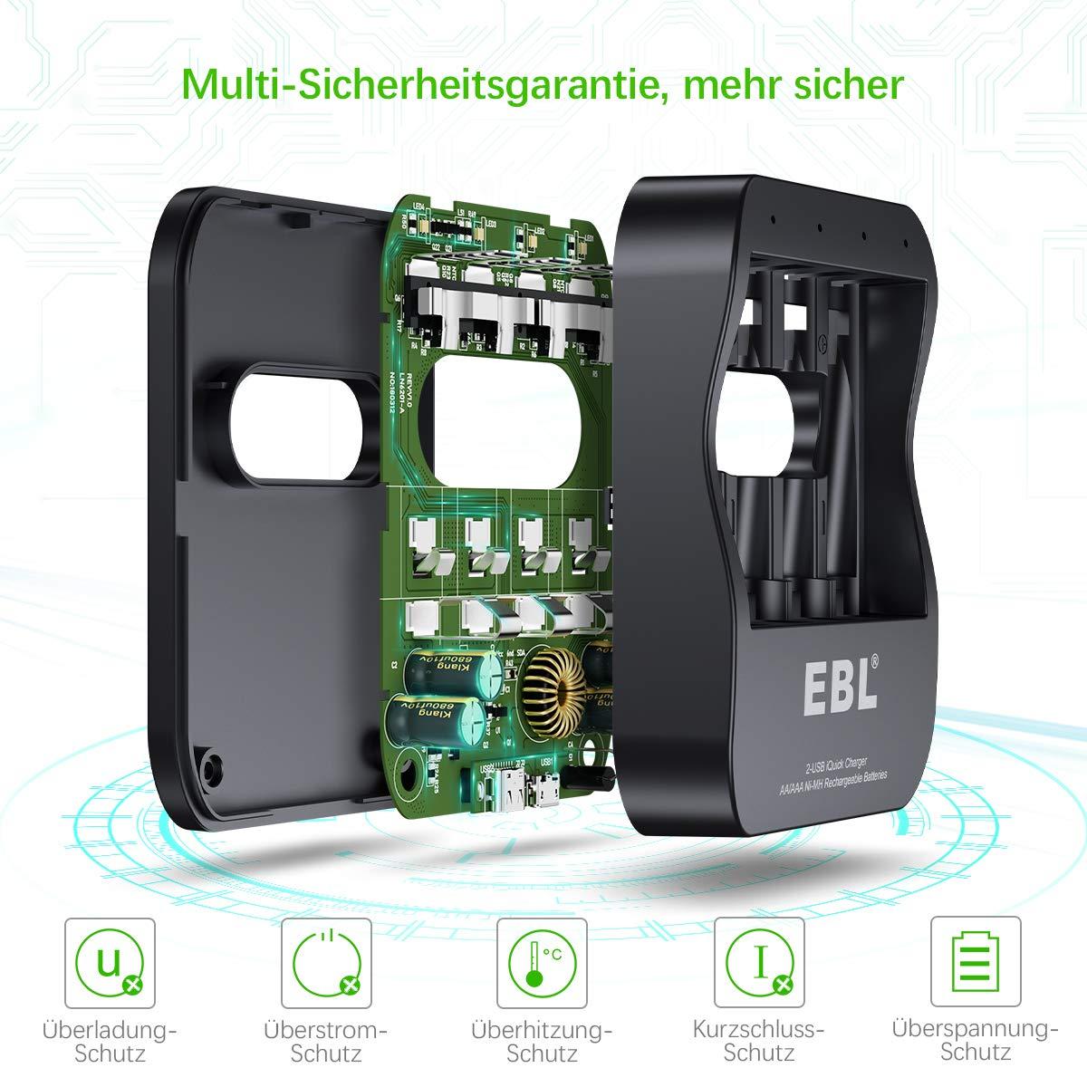 EBL USB Schnell Akku Ladegerät für AA, AAA, NI-MH Akkus inkl. 4*AAA Akku, Schnelle Aufladung mit 2 Eingangsport (Micro USB und Type C)