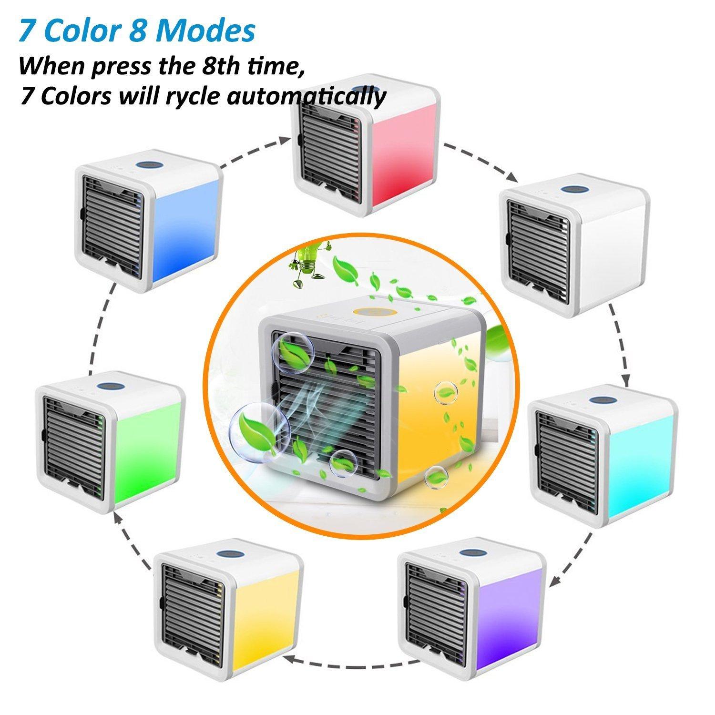 USB Muitifonction 3 EN 1 Mini Climatiseur Humidificateur Purificateur 7 LED Couleurs pour Maison//Bureau//Camping Puissance Climatiseur Portable