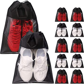 12 Pack Portable Shoe Bags for Travel Large Shoes Pouch Storage Organizer Clear Window with Drawstring for Men and Women Black