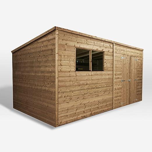 Waltons - Caseta para jardín de madera tratada a presión, puerta doble, techo de media agua: Amazon.es: Jardín