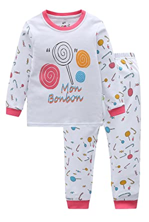500e546ab5c0 Marquebaby Little Girls 2 Piece Pajama Set -100% Cotton Soft and Comfy Pink  Candy