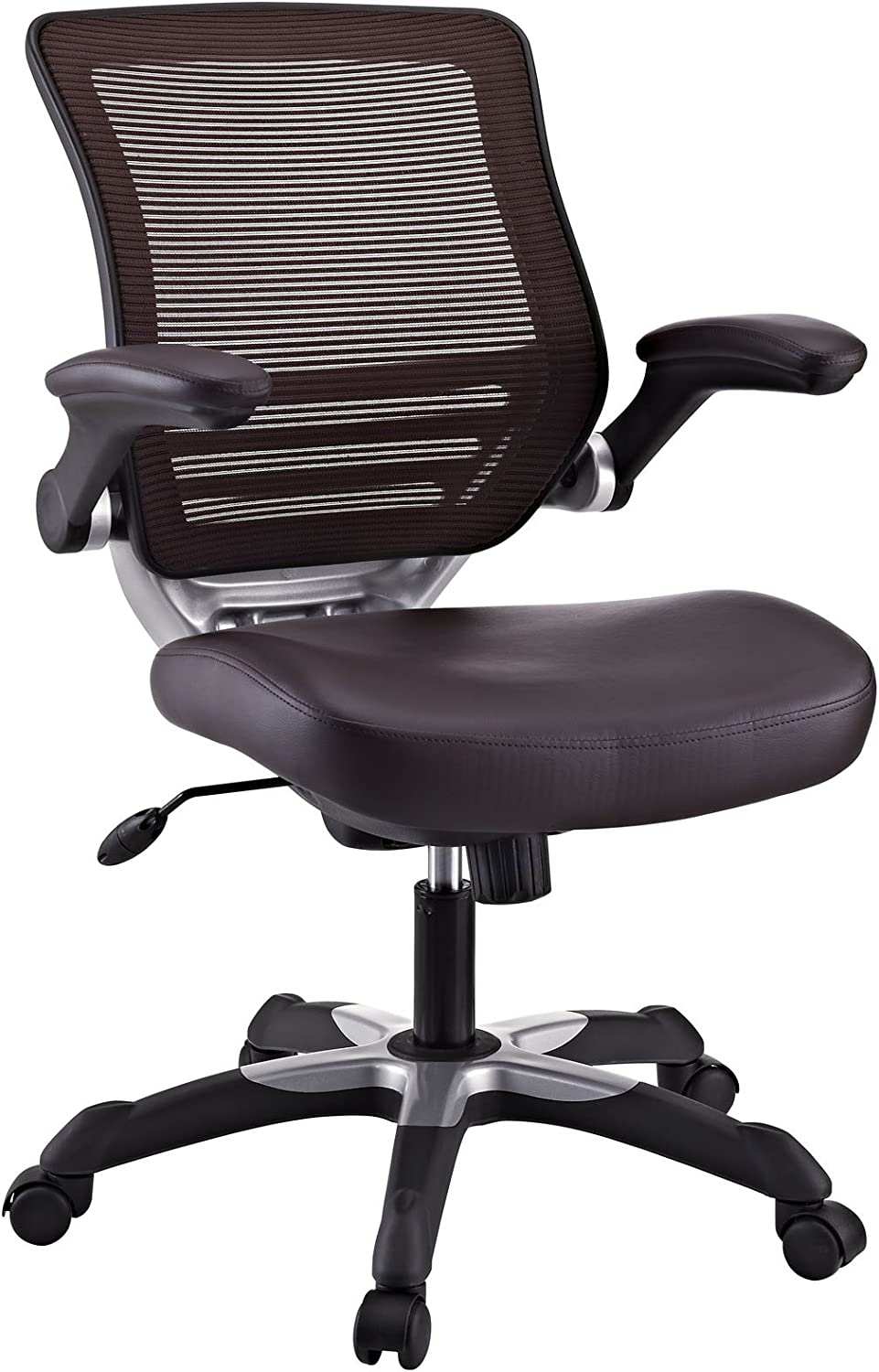 Modway Edge Mesh Back and White Vegan Leather Seat Office Chair With Flip-Up Arms-Computer Desks in Brown