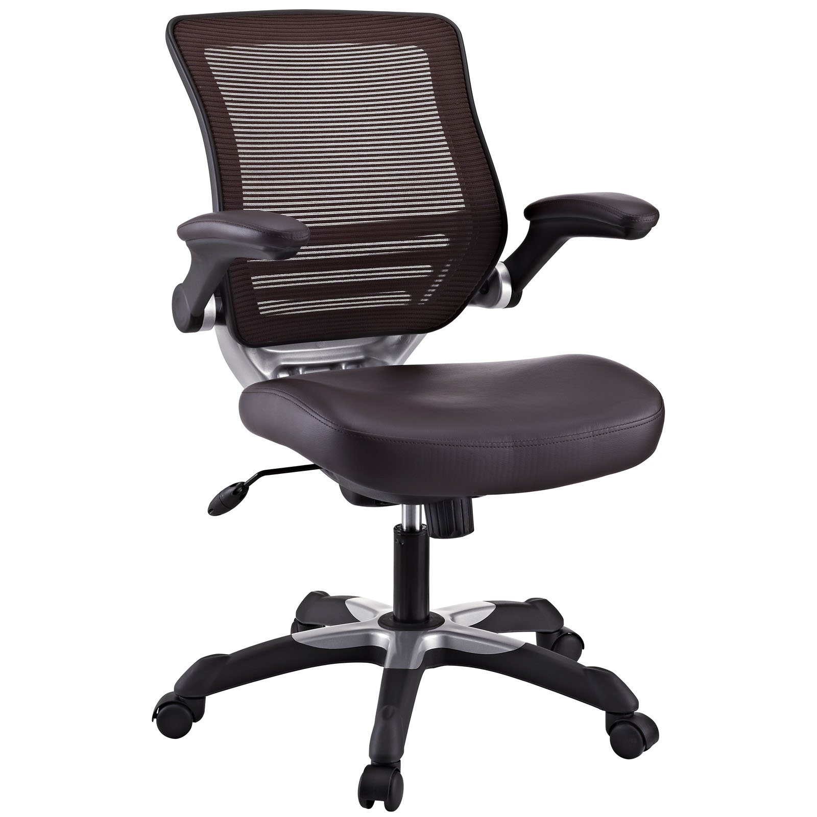 Modway Edge Mesh Back and Brown Vinyl Seat Office Chair With Flip-Up Arms - Ergonomic Desk And Computer Chair