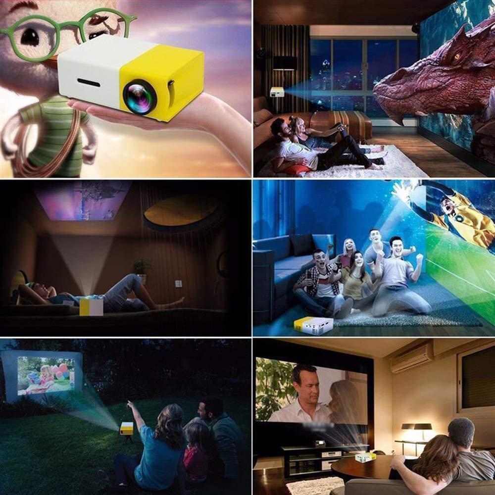 Lente de Enfoque Audiovisual 3D con luz LED LYXLQ Mini proyector proyector port/átil Full HD Adecuado para Sala de Estar//Dormitorio//Estudio//Viaje//Fiesta