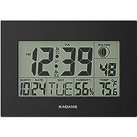 KADAMS Digital Wall Clock Seconds Counter, Dual Alarm Snooze Function, Calendar Date, Indoor Temperature, Humidity, Moon…