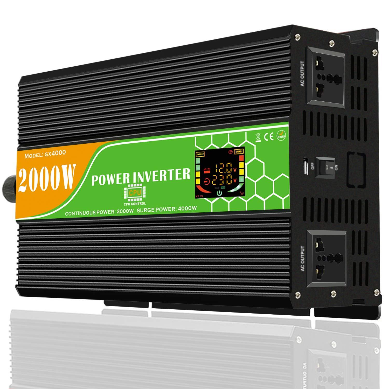 GUOXIN Convertisseur 12V 220V 3000W 6000W DC vers AC Transformateur de Tension onduleur Voiture électrique Power Inverter avec écran LCD et Port Chargeur USB