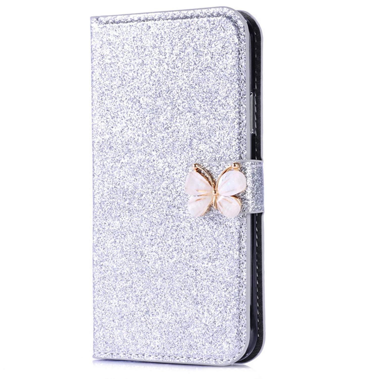 Okssud Coque iPhone Se Glitter Strass, Portefeuille Flip Case pour iPhone 5S Housse à Rabat Portefeuille PU Cuir Luxe Bling Glitter Paillettes Étui de Protection avec Fentes pour Cartes DYY2018002422#04