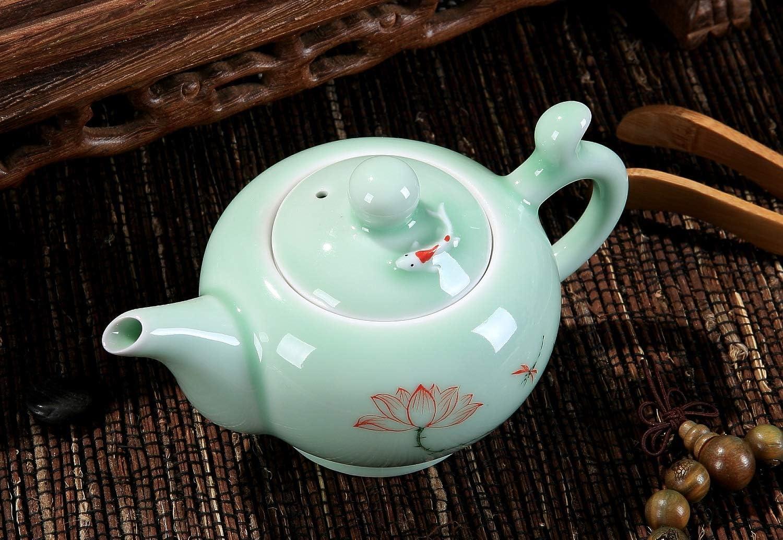 Tea pot Celadon Handcrafted Porcelain Tea Set Lotus Theme Porcelain Tea Pot Covered Teacup Gongdao Cup From China DELIFUR TM