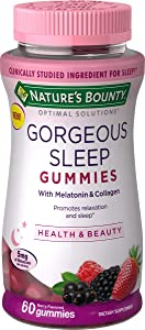 Nature's Bounty Optimal Solutions Gorgeous Sleep Melatonin 5mg Gummies with Collagen, 60 Count, Assorted Fruit Flavors