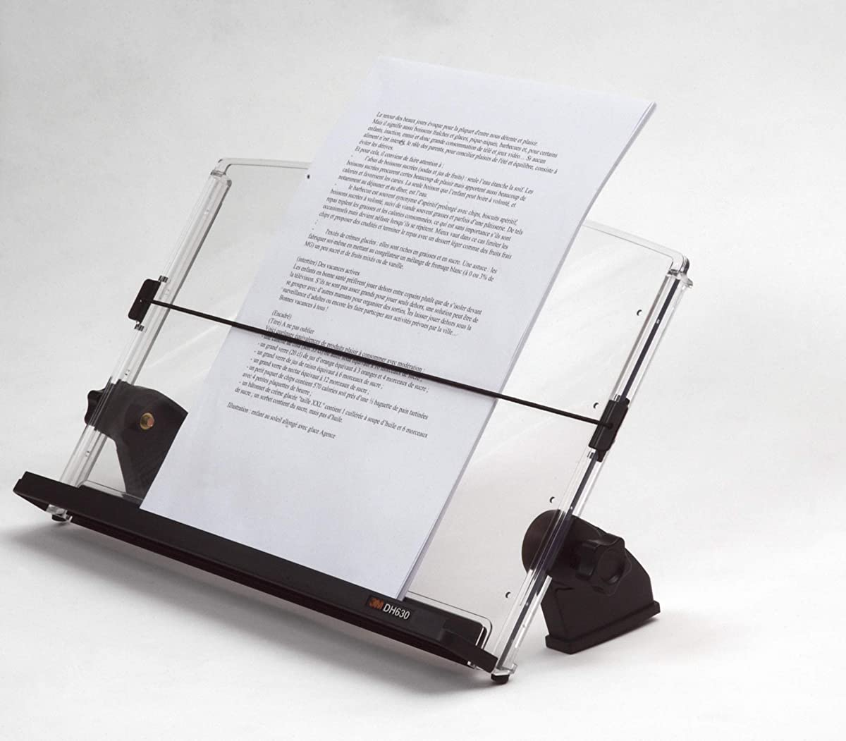 """3M Adjustable Document Copy Holder, In-line with Monitor Minimizing Head and Neck Movement, 150 Sheet Capacity Holds Sheets to Books, Elastic Line Guide Keeps Pages Open, 14"""" Wide, Black (DH630)"""