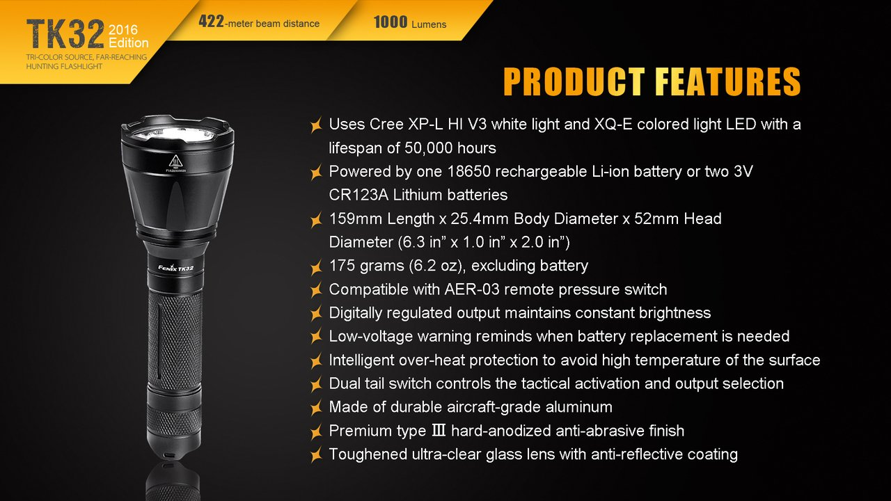 Fenix TK32 2016 1000 Lumen CREE LED built in Red, Green Lights tactical/hunting Flashlight with 2 X Fenix 18650 3400mAH Li-ion rechargeable batteries, Fenix ARE-C1 Home/car Charger and 2 X EdisonBright CR123A Lithium batteries package by Fenix (Image #9)