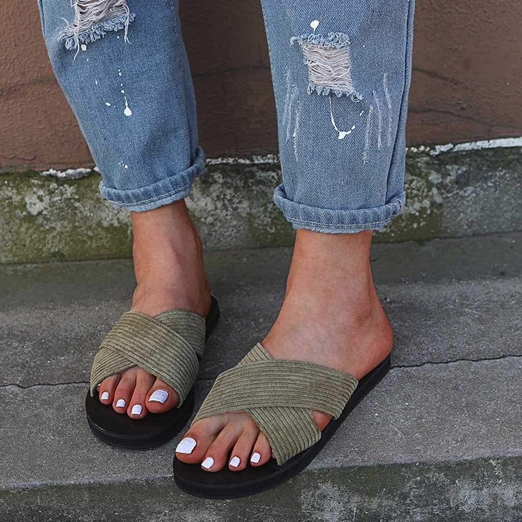 TANGSen Women Slipper Summer Retro Rome Slipper Outdoor Fashion Casual Home Slippers Peep Toe Beach Shoes Army Green
