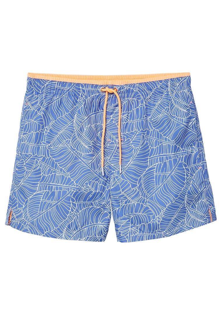 MANGO Men's Leaf-Print Swimsuit, Blue, M