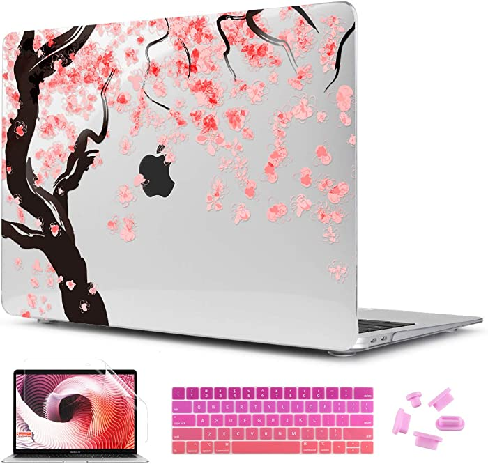 """Two L 3D Printing Series Plastic Hard Case & Keyboard Cover for Apple MacBook Air 13-inch 13"""" A1369/1466 (Cherry Flower)"""