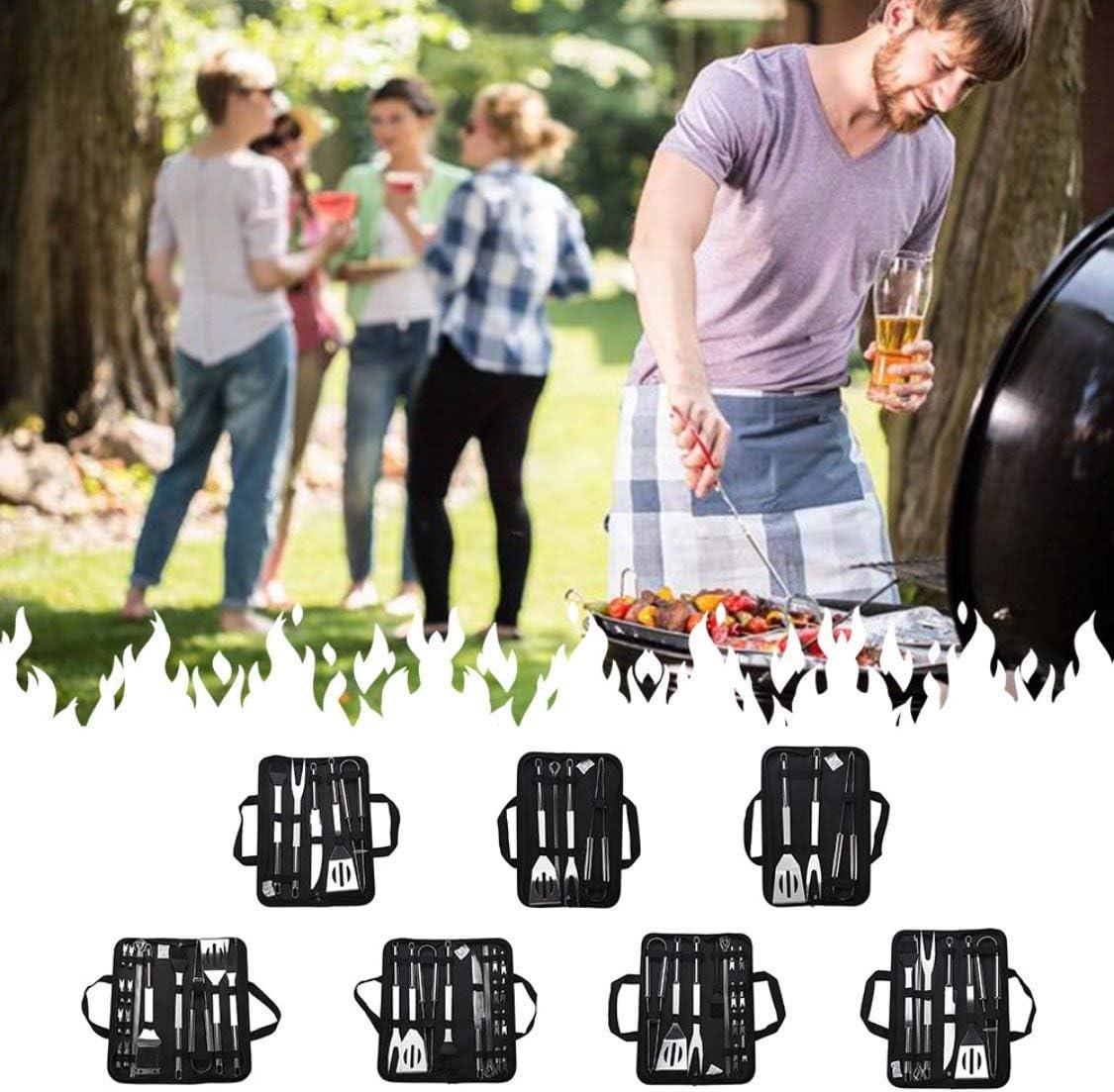 Dynamovolition 1 Set Barbecue Outils Set Pelle en Acier Inoxydable Fourchette Brosse Barbecue Cuisson Pique-Nique Grillades Ustensiles Accessoires pour Barbecue argent (16pcs)