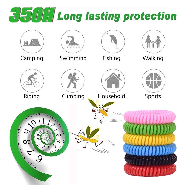 Pulsera Antimosquitos, 12 Piezas Repelente Mosquitos Pulsera Adultos y Niños, Muñequera Natural Deet-Free, Bandas Repelentes de Insectos y Insectos, ...
