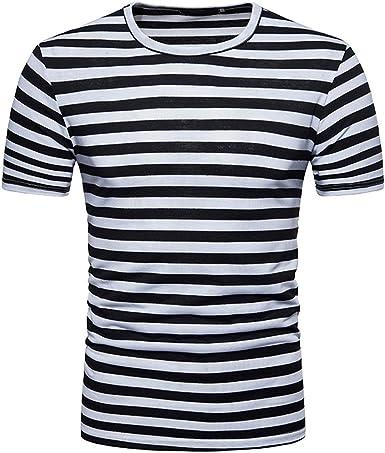 Rcdxing Camiseta rayada casual de manga corta negra para ...