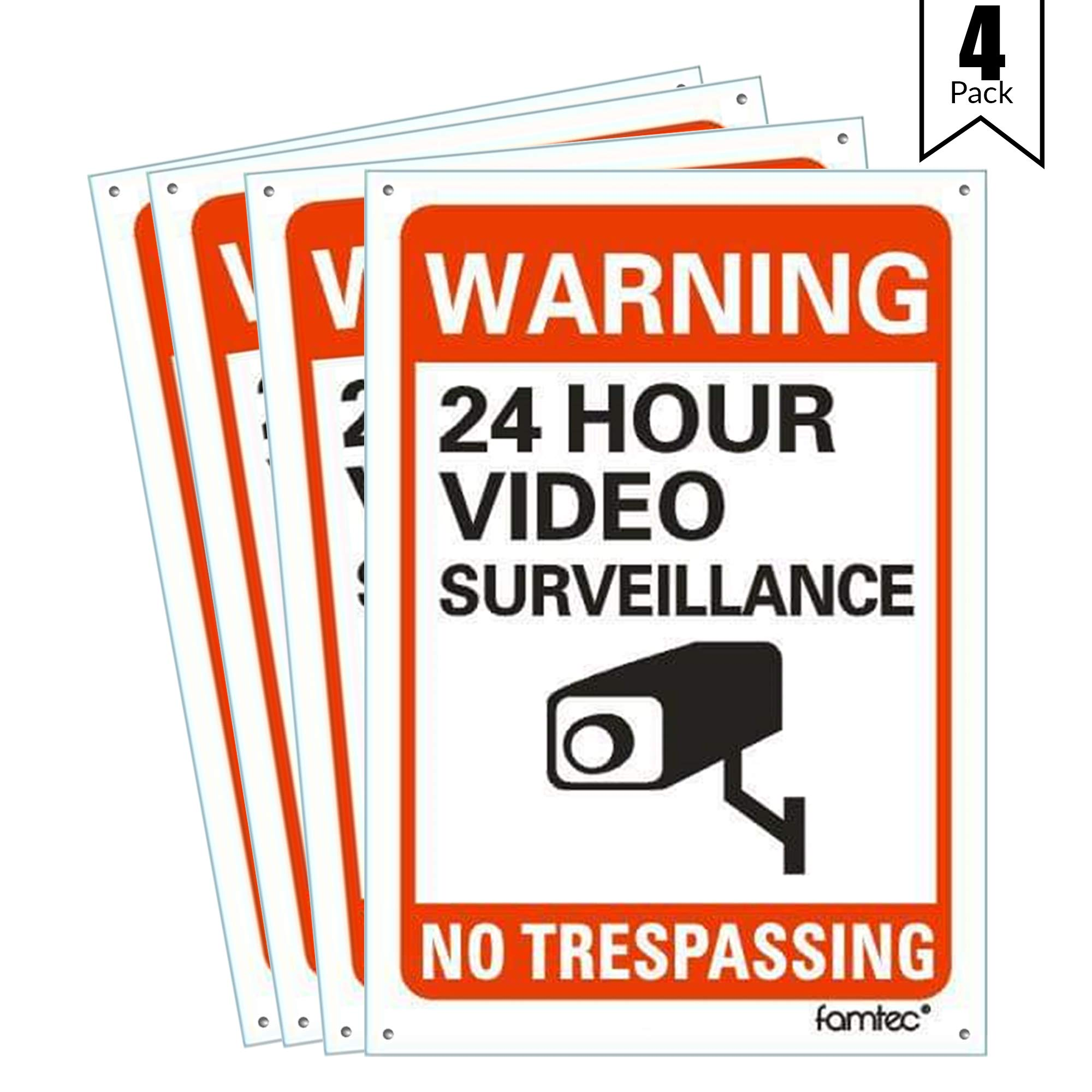 Famtec Video Surveillance Sign Outdoor Warning Sign | 7''x 10'' Aluminum | Indoor Outdoor | Home Business CCTV Security Camera | Waterproof UV Protected | Red | 7x10, Red | Reflective | 4 Pack by Famtec (Image #1)