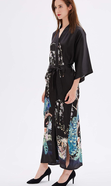 prettystern Robe di Vestaglia Kimono di Seta a Terra Lunga per Donna