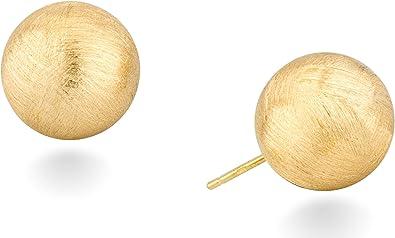 MiaBella 925 Sterling Silver Italian Brushed Bead Ball Stud Post Earrings for Women Girls Men