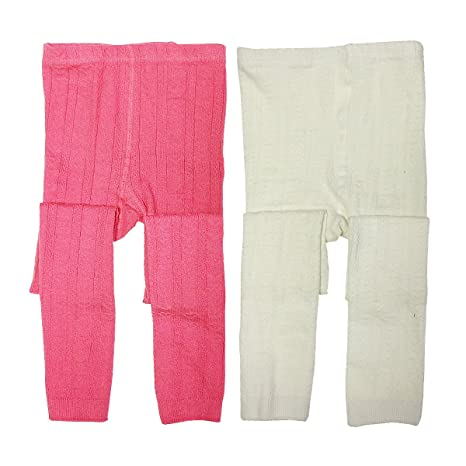 Set of 2 Wrapables Cotton Heart Knit Leggings for Toddlers