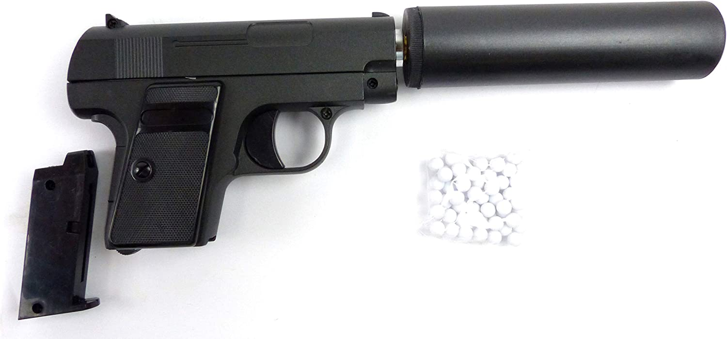 Metal Pistola De Airsoft con silenciador y munición de juguete Arma de metal Gun Muelle de impresión de Sports Weapon with Silencer and Bullets G9 A