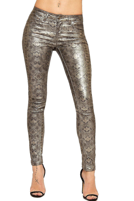 WearAll Women's Snake Print Wet Look Faux Leather Pocket Ladies Skinny Leg Stretch Jeans 6-14 88429