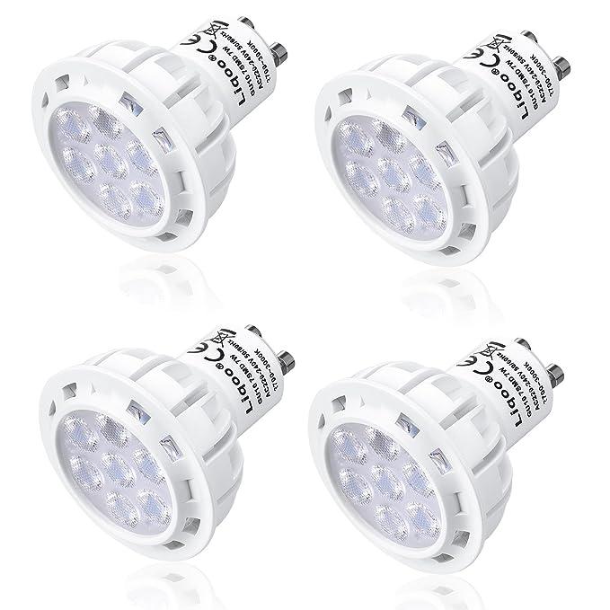 Liqoo 4x 7W Bombilla LED GU10 LED Blanco cálido 2800K AC 220V - 240V Foco LED Spot Luz de Techo Termoplástico Equivalente a 50 W, 560Lm 60º,No regulable: ...