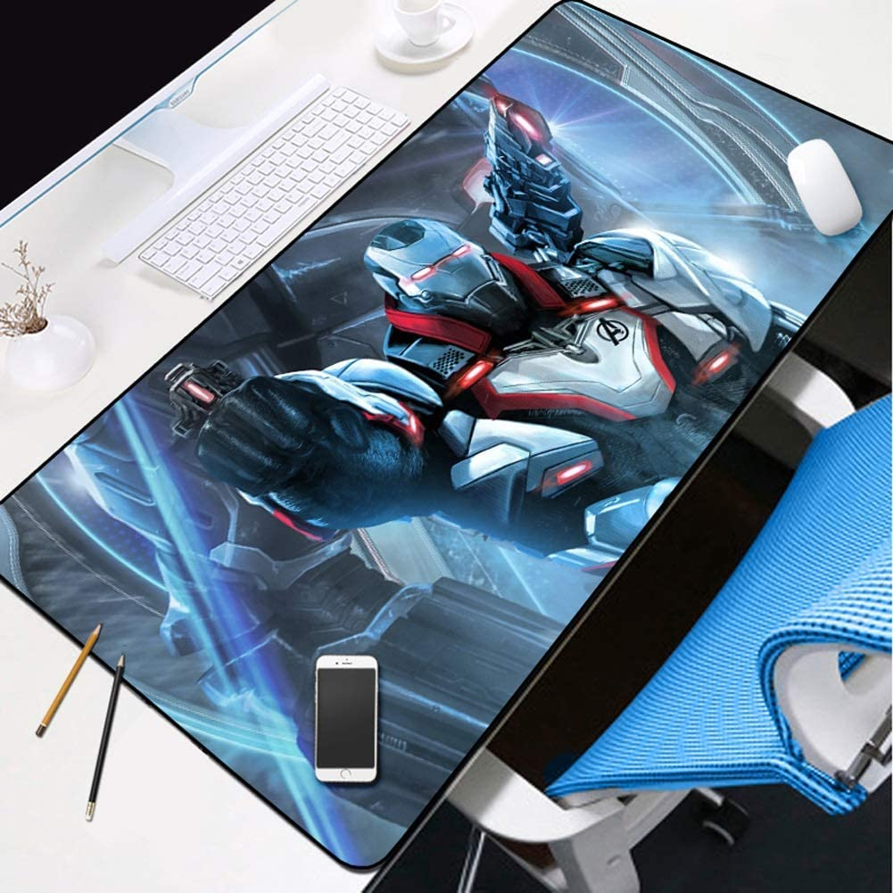 Stitched Edges Leash Avengers Game Expansion Anime Mouse Pad Natural Rubber Non-Slip Base Smooth Cover Iron Man Tyrant Keyboard Pad Table Pad Color : B, Size : 300X800X3mm