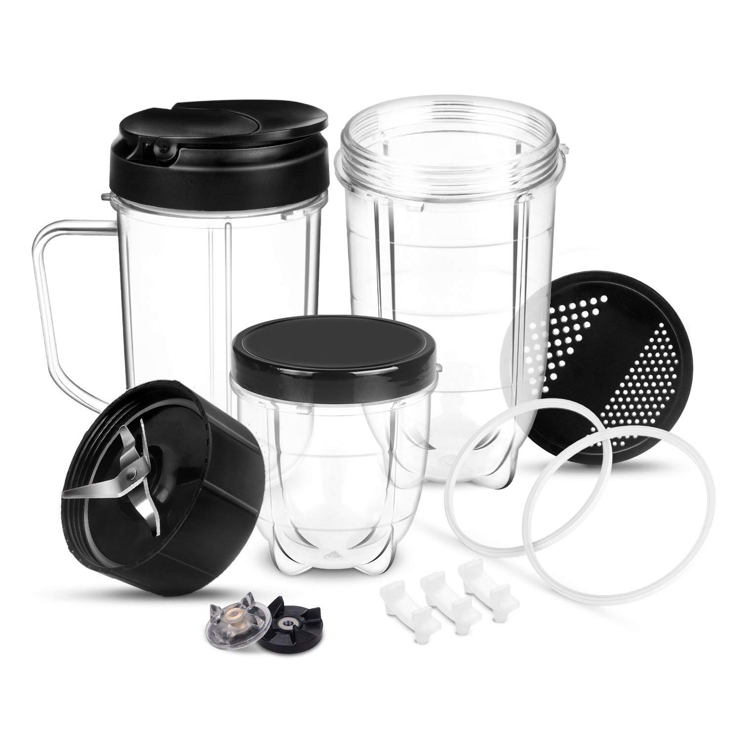 Magic Bullet Blender Replacement Parts Cross Blade Cups Lids Gaskets Gear 14 Piece Set Compatible with Magic Bullet Blender Juicer Mixer 250W MB1001 Accessories