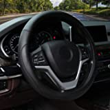 Valleycomfy Microfiber Leather Steering Wheel Cover Universal 15 inch (Black)
