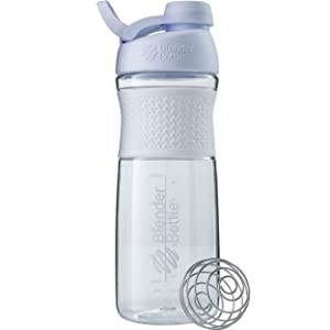 BlenderBottle SportMixer Twist Cap Tritan Grip Shaker Bottle, 28-Ounce, White