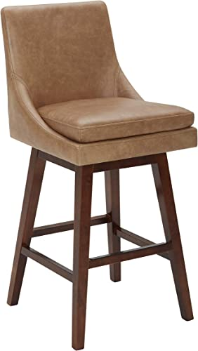 Amazon Brand Stone Beam Alaina Contemporary Leather High-Back Swivel Seat Bar Stool