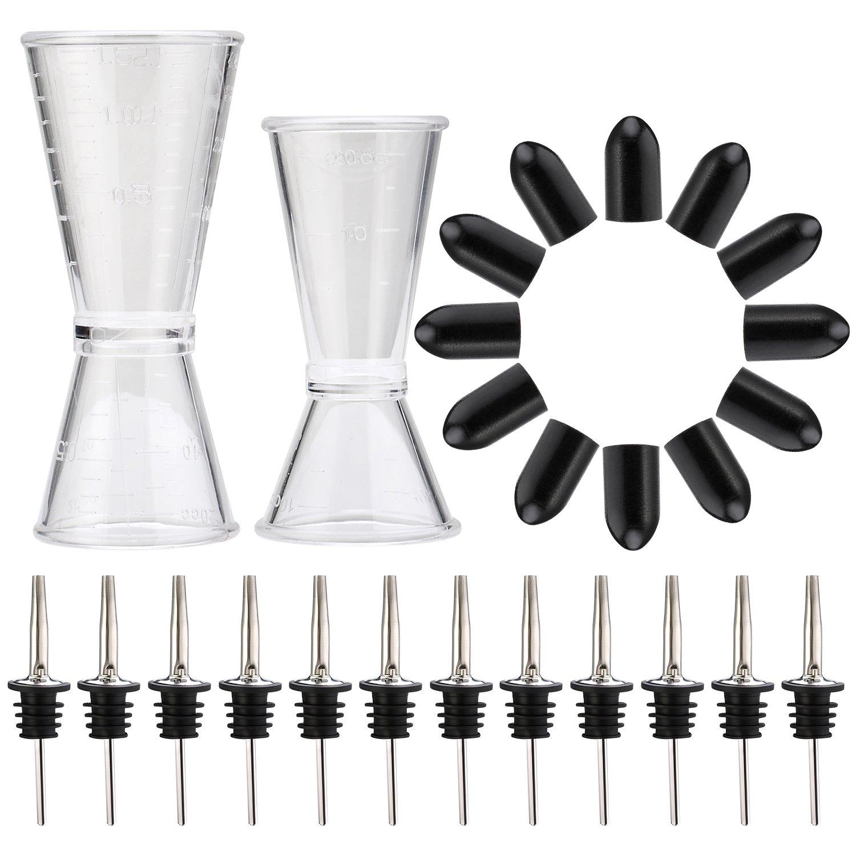 Bartender Pour Kit - Measuring Jigger Shot Cups (2) + Bottle Pourers (12) + Pourer Tip Covers (12)