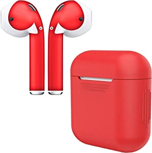 AirPod Skins & Charging Case Cover – Protective Silicone Cover and Stylish Wraps Bundle Compatible with Apple AirPods (Red Case & Red Skin)