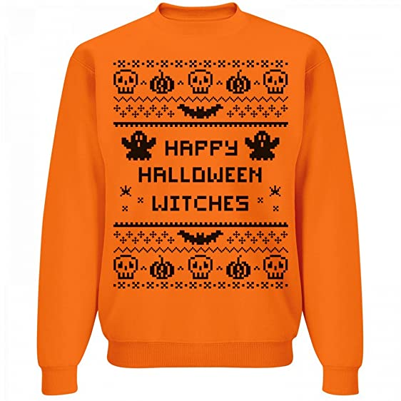 org happy halloween witches unisex jerzees neon crewneck sweatshirt
