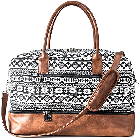 Canvas Weekender Bag | Overnight Travel Carry On Duffel Tote with Shoe Pouch