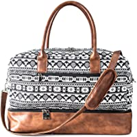 MyMealivos Canvas Weekender Bag, Overnight Travel Carry On Duffel with Shoe Pouch