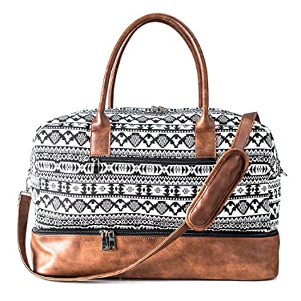 e42ac8210bd3 MyMealivos Canvas Weekender Bag, Overnight Travel Carry On Duffel Tote with  Shoe Pouch (black)