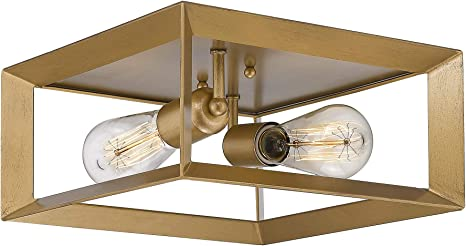 Amazon Com Emliviar 2 Light Flush Mount Light 12 Ceiling Light Fixture Antique Brass Finish 3040 2 Home Improvement