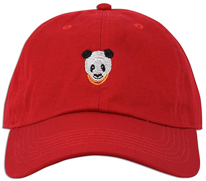 Panda Embroidered Dad Hat Baseball Cap Polo Style Adjustable (Red ... 02bb255120e