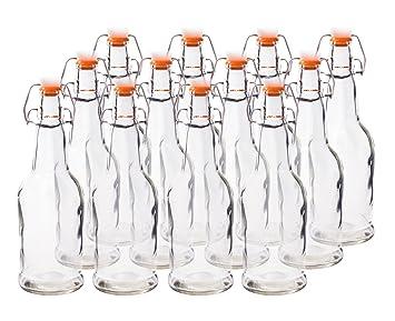 homequip 12 Pk, 16 oz reutilizable cristal – Botellas de cerveza Grolsch estilo con tapones