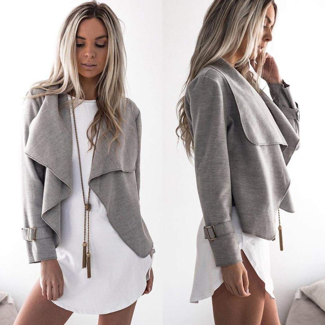Womens Wool Long Sleeve Waterfall Casual Trench Coats Cape Cardigans (S, Gray)