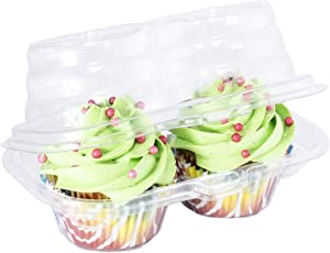 Katgely 2 Compartment Cupcake Container - Deep Cupcake Carrier Holder Box - BPA-Free - Clear Plastic Stackable - Case of 212