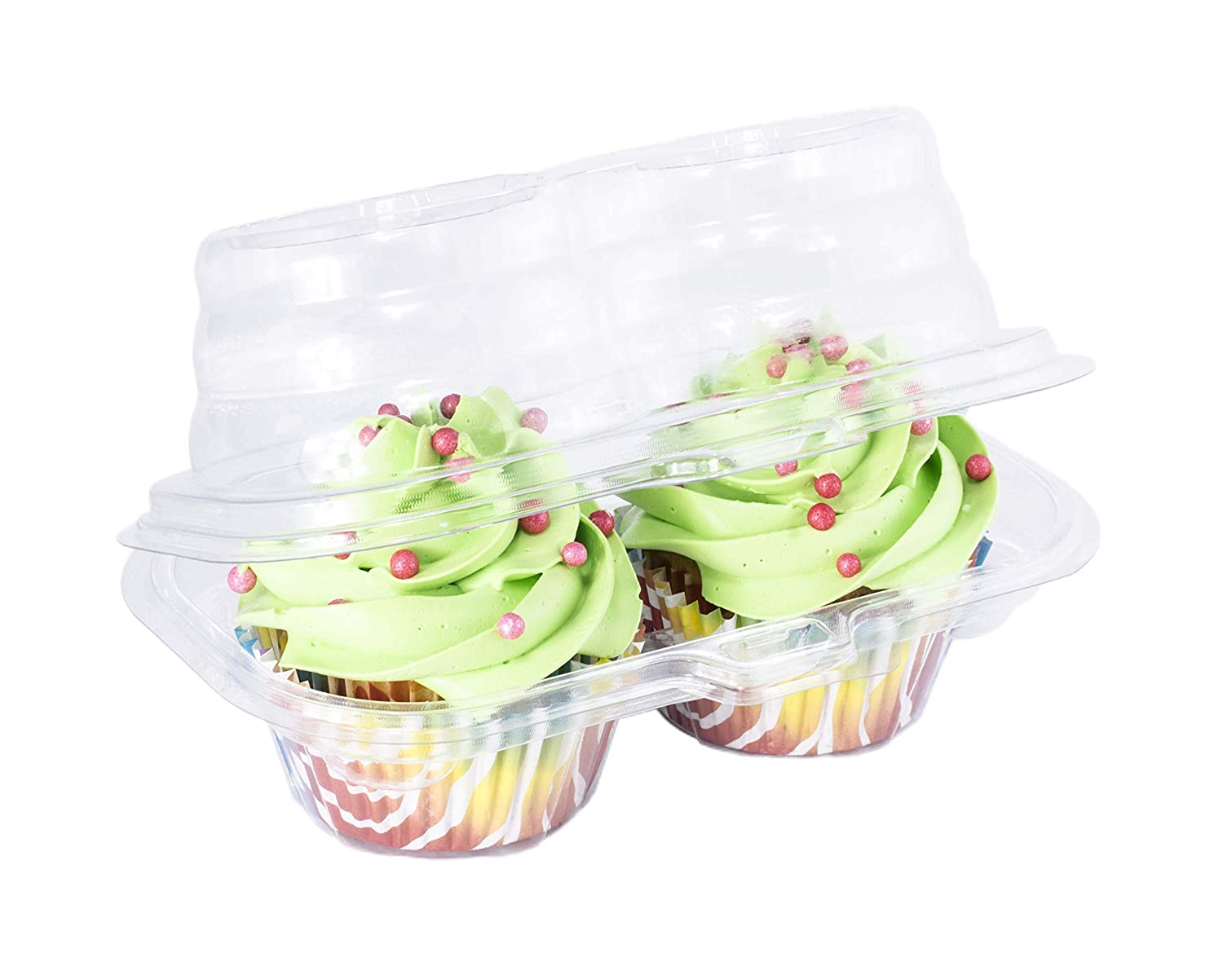 Katgely 2 Compartment Cupcake Container - Deep Cupcake Carrier Holder Box - BPA-Free - Clear Plastic Stackable (50)